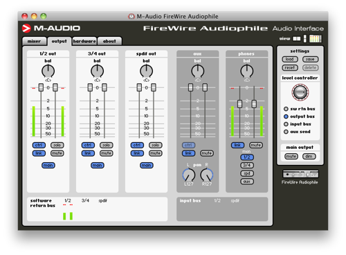 M-Audio FireWire Audiophile Control Panel Screenshot