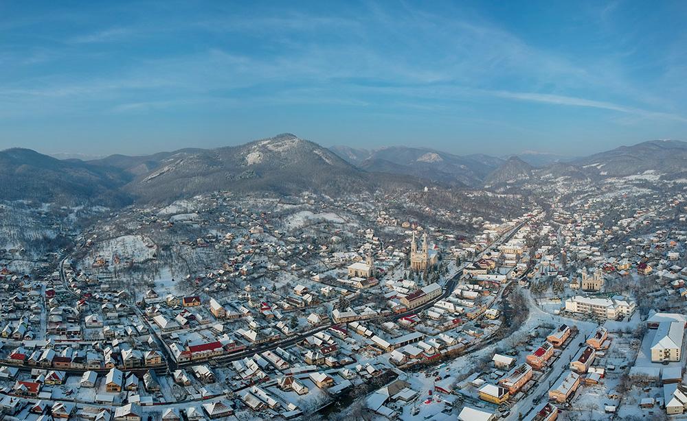 Mini panoramă cu orașul Baia Sprie