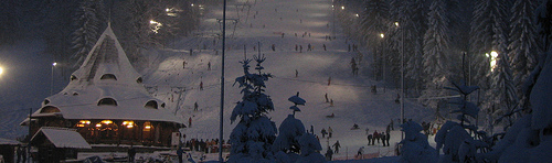 The slopes at Icoana now featuring night lighting!