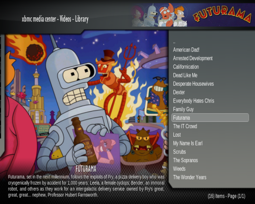 XBMC Media Center screenshot